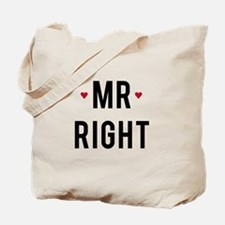 Mr right text design with red hearts Tote Bag