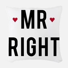 Mr right text design with red hearts Woven Throw P