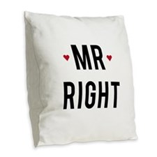 Mr right text design with red hearts Burlap Throw