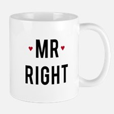 Mr right text design with red hearts Mugs