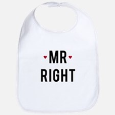 Mr right text design with red hearts Bib
