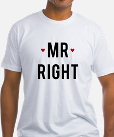 Mr right text design with red hearts T-Shirt