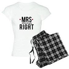 Mrs. always right text design with red hearts Paja
