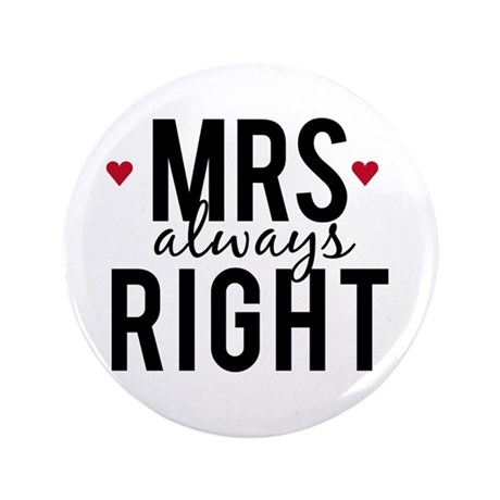 Mrs. always right text design with red hearts 3.5""
