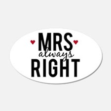 Mrs. always right text design with red hearts Wall