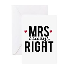 Mrs. always right text design with red hearts Gree