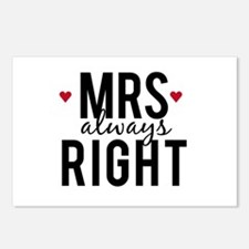 Mrs. always right text design with red hearts Post