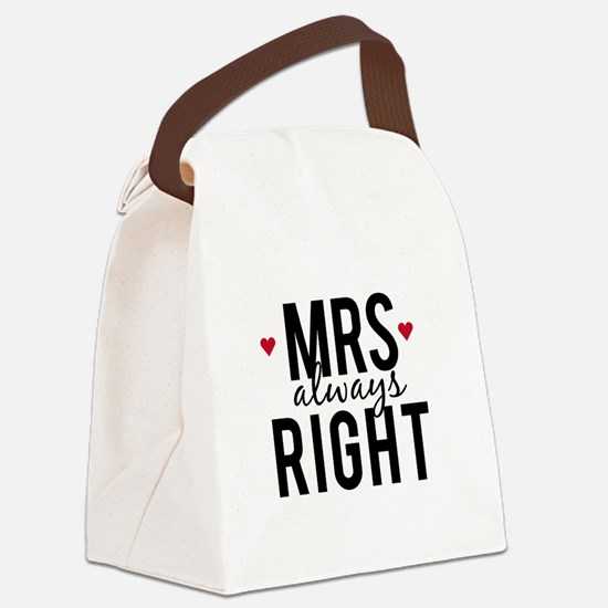 Mrs. always right text design with red hearts Canv