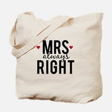 Mrs. always right text design with red hearts Tote