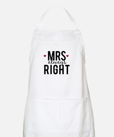 Mrs. always right text design with red hearts Apro