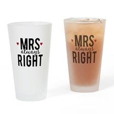 Mrs. always right text design with red hearts Drin