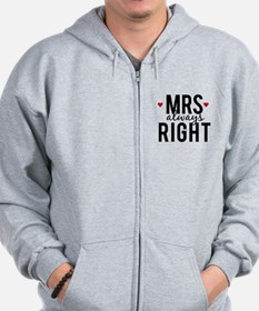 Mrs. always right text design with red hearts Zip Hoodie