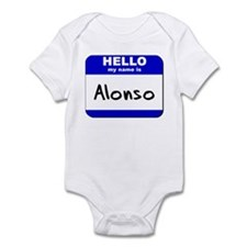 hello my name is alonso  Infant Bodysuit