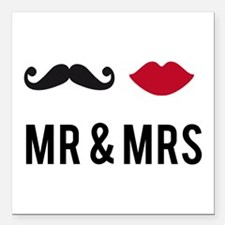 """Mr. and Mrs. Square Car Magnet 3"""" x 3"""""""
