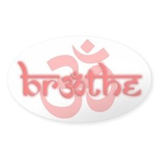 (Red) Breathe With Om Decal Sticker (Oval