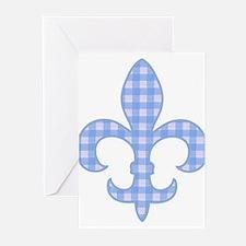 Blue Gingham Fleur de lis Greeting Cards (Package