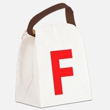 Letter F Red Canvas Lunch Bag