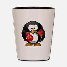 Valentines Day Penguin Shot Glass
