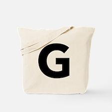 Letter G Black Tote Bag
