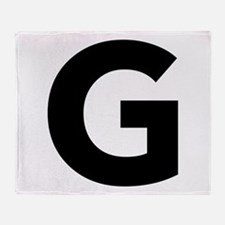Letter G Black Throw Blanket