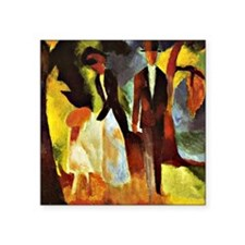 """Franz Marc - People by the  Square Sticker 3"""" x 3"""""""