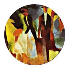 Franz Marc - People by the Lake Round Car Magnet