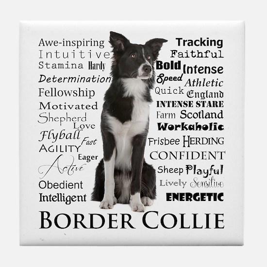 Border Collie Traits Tile Coaster