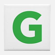 Letter G Green Tile Coaster