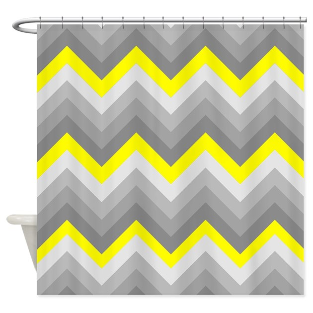 Yellow And Gray Chevrons Shower Curtain By ShowerCurtainsWorld