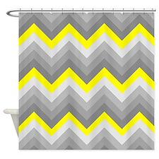 Yellow and Gray Chevrons Shower Curtain