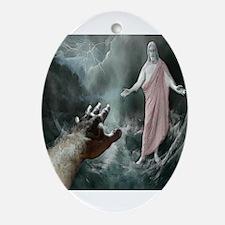 Jesus Walks On The Water Ornament (Oval)