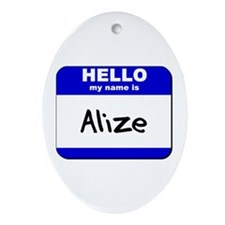 hello my name is alize  Oval Ornament