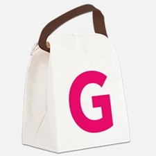 Letter G Pink Canvas Lunch Bag