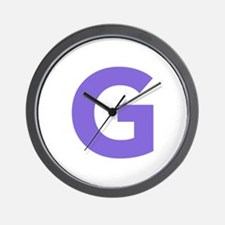 Letter G Purple Wall Clock
