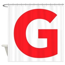 Letter G Red Shower Curtain