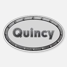 Quincy Metal Oval Decal