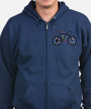 Bike Made Up Of Words To Motivat Zip Hoodie (Dark)