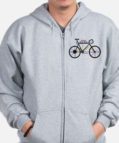 Bike made up of words to motivate Zipped Hoody