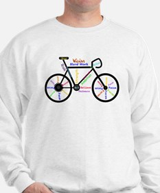Bike made up of words to motivate Sweater