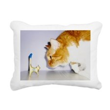Silly Cat Staring Rectangular Canvas Pillow