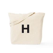 Letter H Black Tote Bag