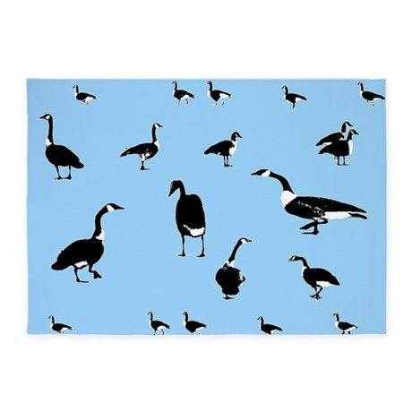 Black and White Wild Geese 5'x7'Area Rug