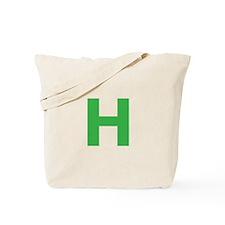 Letter H Green Tote Bag