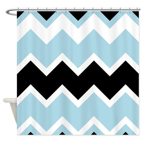 Black And Light Blue Chevrons Shower Curtain By Showercurtainsworld