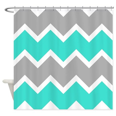 Gray And Turquoise Chevrons Shower Curtain By