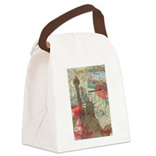 Vintage New York City Collage Canvas Lunch Bag