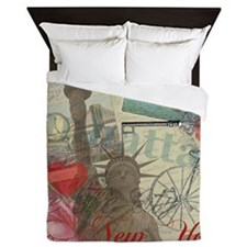 Vintage New York City Collage Queen Duvet