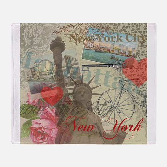 Vintage New York City Collage Throw Blanket