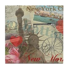 Vintage New York City Collage Tile Coaster