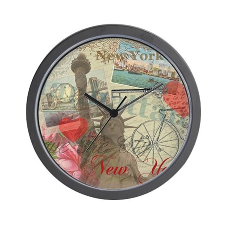 Vintage New York City Collage Wall Clock by doodlefly